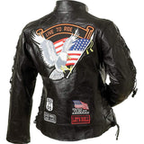 Diamond Plate Ladies Buffalo Leather Motorcycle Jacket GFLADLTR Free Shipping