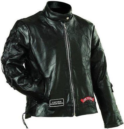 Diamond Plate GFLADLTR Ladies Buffalo Leather Motorcycle Jacket GFLADLTR - Apparel & Accessories - Fits My Budget