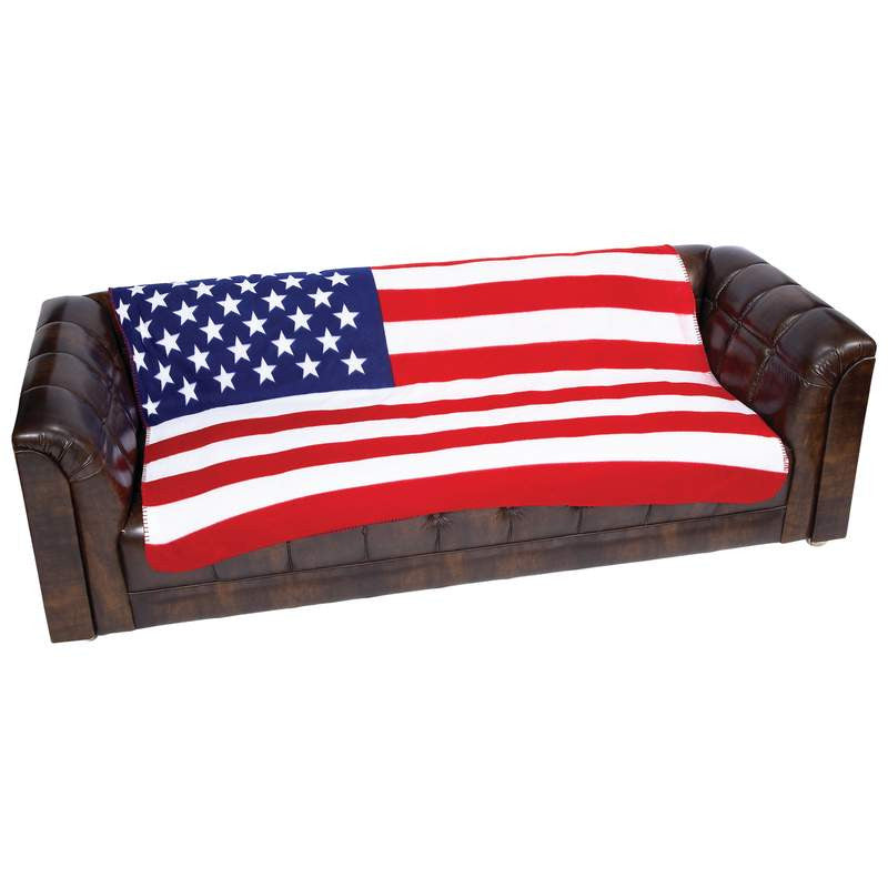 Maxam GFLGBLK United States American Flag Print Fleece Blanket Throw Free Shipping - Blankets & Bedding - Fits My Budget