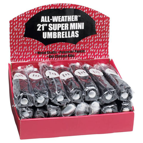 Mini-Umbrellas GFUMLTBP All-Weather 24 piece Set of Black Umbrellas in Display Box - Sports & Games - Fits My Budget