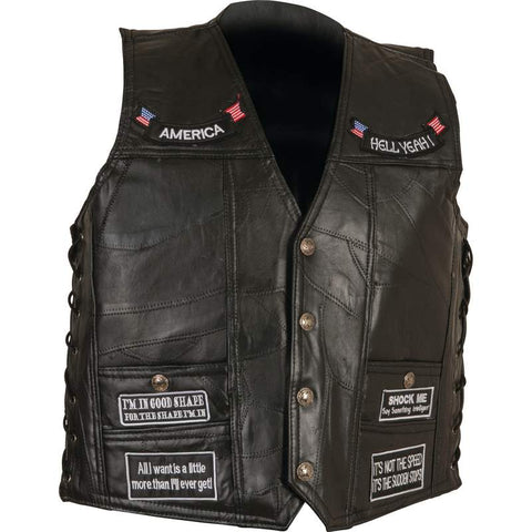Diamond Plate Genuine Leather Concealed Carry Vest with Patches GFVAPN FREE SHIPPING