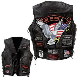 Diamond Plate GFVBIK14 Rock Design Genuine Buffalo Leather Vest with 14 patches