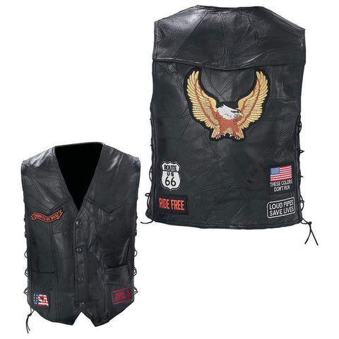 Diamond Plate GFVBIKE Rock Design Black Genuine Buffalo Leather Biker Vest