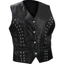 Diamond Plate?äó GFVL66 Ladies Leather Vest Rock Design Genuine Lambskin
