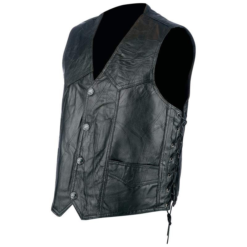 Rocky Ranch Hides GFVLACE Rock Design Genuine Hog Leather Biker Vest with Snaps