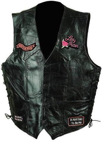 Diamond Plate GFVLADY Ladies Rock Design Genuine Leather Vest GFVLADY