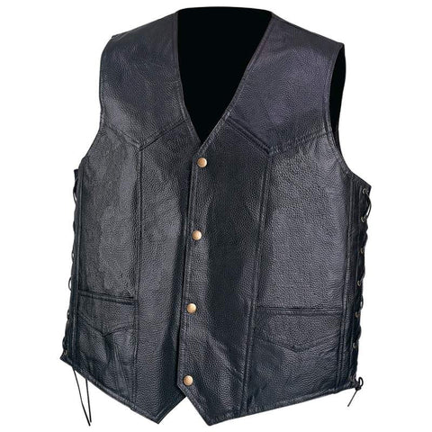 Diamond Plate GFVPB Leather Laced Vest with Antique Brass Hardwares GFVPB - Apparel & Accessories - Fits My Budget