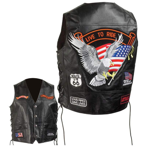 Diamond Plate GFVSLPT Leather Motorcycle Vest with Eagle & Flag Free Shipping - Apparel & Accessories - Fits My Budget