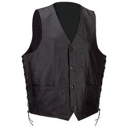 Diamond Plate GFVSL Mens Leather Vest with Lace Sides GFVSL - Apparel & Accessories - Fits My Budget