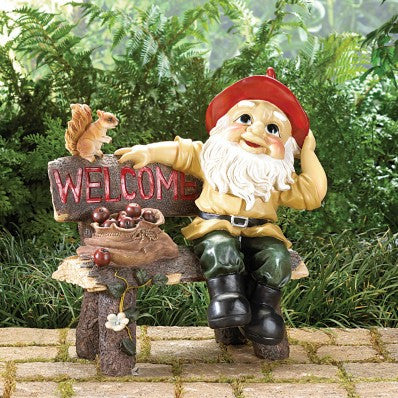 Garden Gnome on Bench Welcome Greeting Sign 10039265 Free Shipping - House Home & Office - Fits My Budget