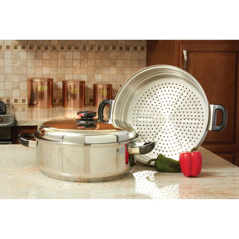 Stainless Steel Oversized Skillet, Steamer and Cover Free Shipping