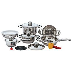 Chef's Secret KT12 Stainless Steel Cookware Set Heavy Gauge 12 Piece - House Home & Office - Fits My Budget