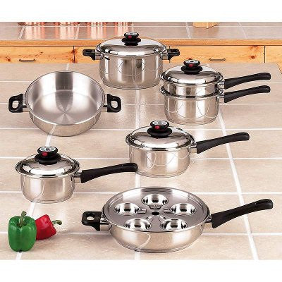 Maxam 5 Ply Steam Control 17 piece Stainless Steel Waterless Cookware Set KT17