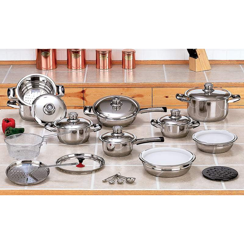 Maxam KT28 28 Piece 12-Element Stainless Steel Cookware Set - House Home & Office - Fits My Budget