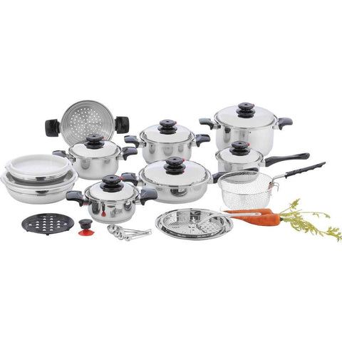 "Chef's Secret 12-Element T304 Stainless Steel ""Waterless"" Cookware 28 Piece Set - House Home & Office - Fits My Budget"