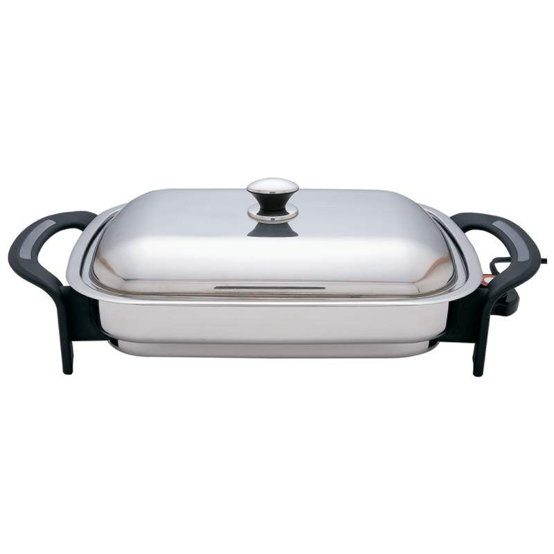 Precise Heat 16 inch Rectangular Surgical Stainless Steel Electric Skillet KTES4