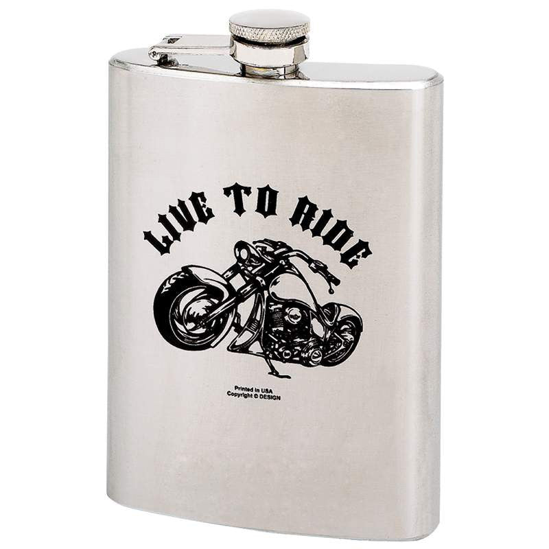 Maxam KTFLASK8LTR Stainless Steel Live to Ride Hip Flask with Screw Down Cap Free Shipping - House Home & Office - Fits My Budget