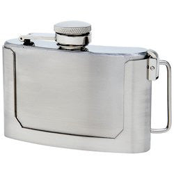 Maxam 3 Ounce Stainless Steel Belt Buckle Flask KTFLASKBKL3 - House Home & Office - Fits My Budget