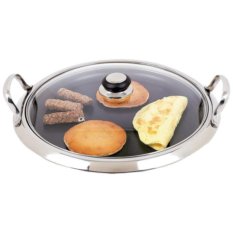 Chefs Secret Stainless Steel Round Non-Stick Griddle KTGRID2G Free Shipping - House Home & Office - Fits My Budget