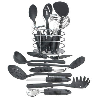 Maxam KTOOL172 Kitchen Utensil 17 Piece Set with Wire Storage Basket - House Home & Office - Fits My Budget
