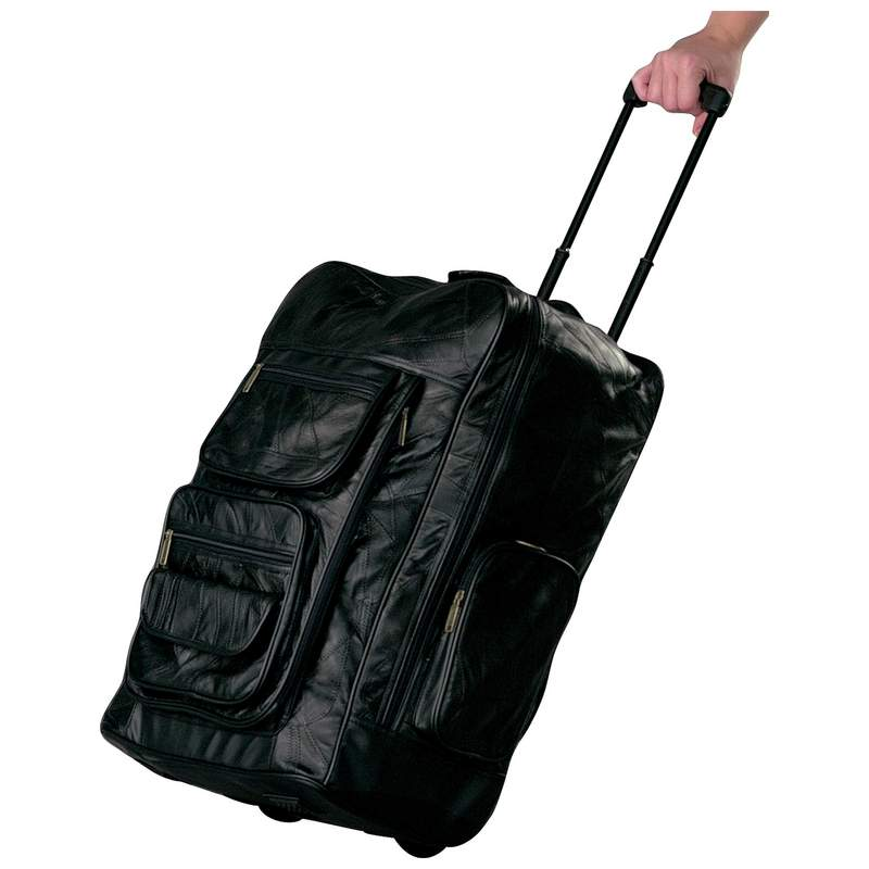 "23"" Leather Deluxe 23"" Trolley Travel Bag Free Shipping"