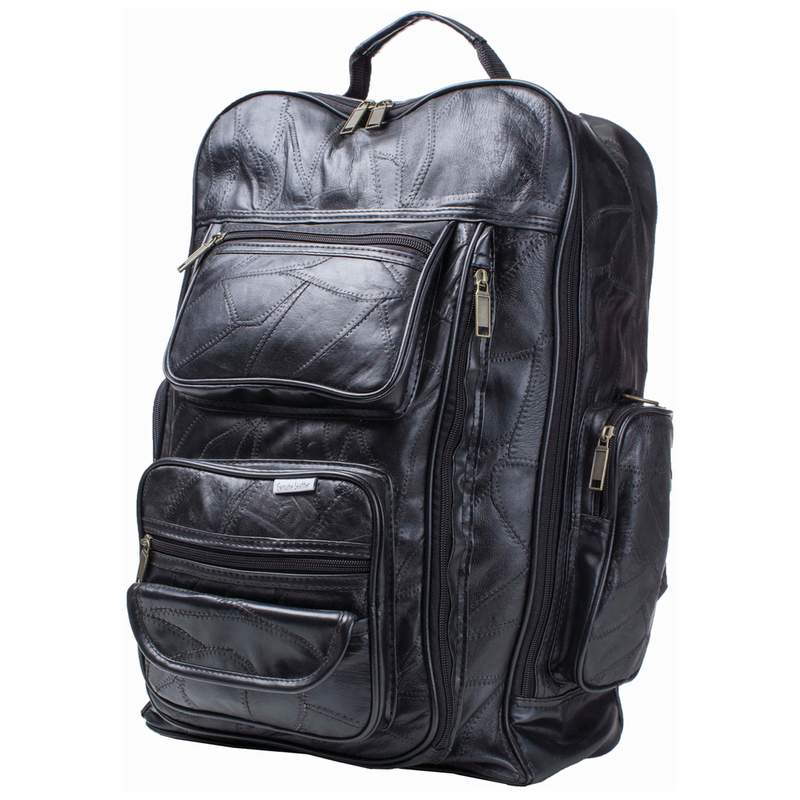 "19"" Leather Trolley Bag Backpack Free Shipping"