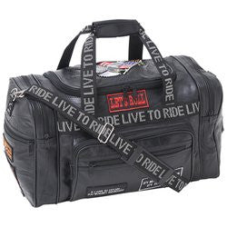 Diamond Plate LULLTR Rock Design Genuine Leather LIVE TO RIDE Tote Bag - Luggage & More - Fits My Budget