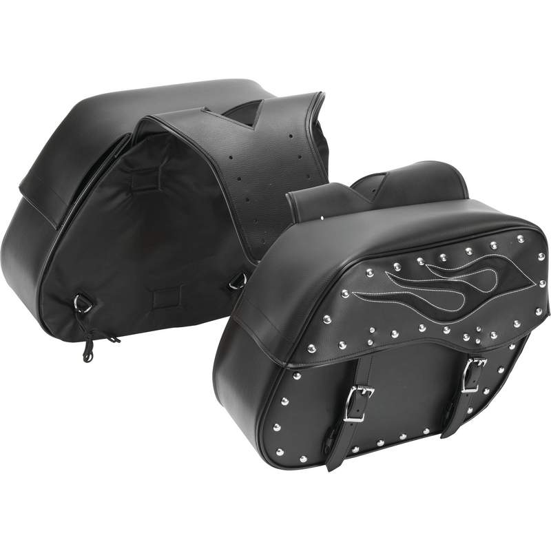 Diamond Plate LUMSADFLM 2 piece Motorcycle Saddlebag Set Flame Design Free Shipping - Luggage & More - Fits My Budget