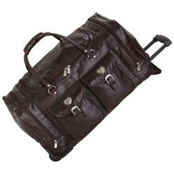 "Embassy LUTR24BR Italian Stone?äó Brown Leather 24"" Trolley Bag Free Shipping - Luggage & More - Fits My Budget"
