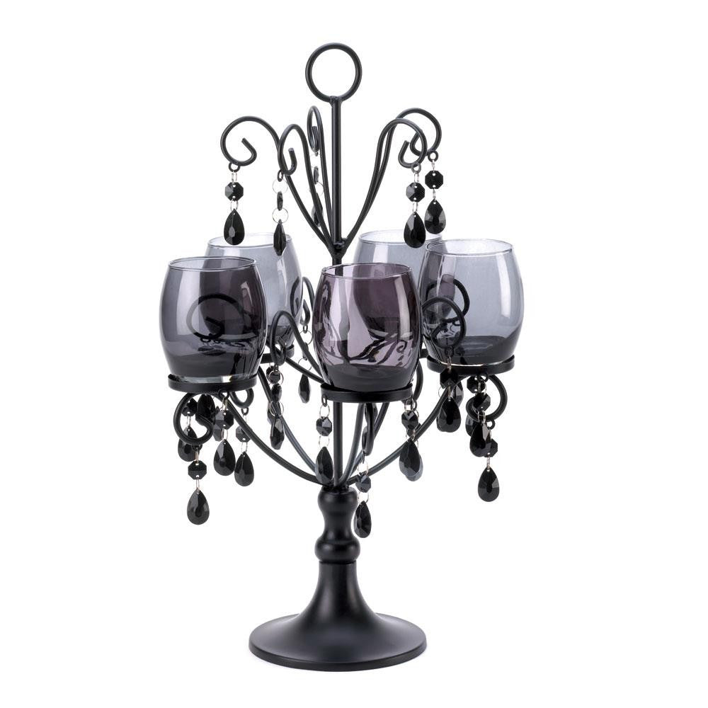 Midnight Elegance Metal and Glass Candelabra with Crystals 10015105 - House Home & Office - Fits My Budget