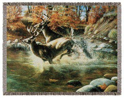 Simply Home RTP287497 Deer On the Run Throw Blanket Tapestry - Blankets & Bedding - Fits My Budget