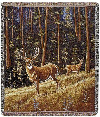 Simply Home TPM561 Whitetail Morning Throw Blanket Tapestry - Blankets & Bedding - Fits My Budget