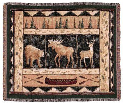 Simply Home TPM775 Woodland Animals Throw Blanket Tapestry - Blankets & Bedding - Fits My Budget