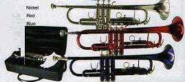 Mirage Trumpet B Flat in Red, Blue or Nickel Finish with Hard Case M40151 - Musical Instruments - Fits My Budget