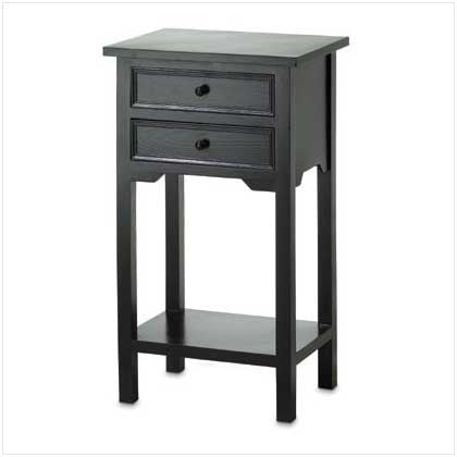 Black Stained Pine Wood Table with 2 Drawers 10036642 Free Shipping - House Home & Office - Fits My Budget