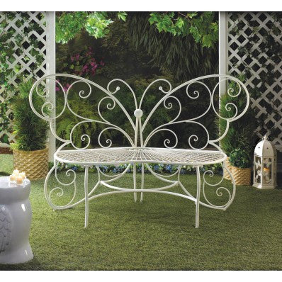 Butterfly Garden Bench in White Metal 10015688
