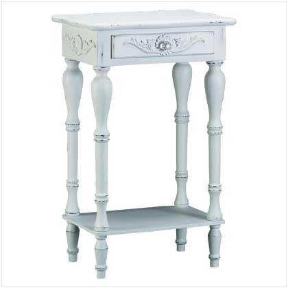Elegant White Cottage Style Side End Table 34353