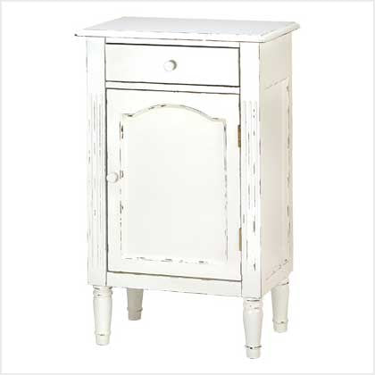 White Wood Vintage Antiqued Hand Distressed Nightstand Cabinet 39093 - House Home & Office - Fits My Budget
