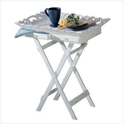 Folding Elegant Food Tray Stand with White Finish 10033139 Free Shipping - House Home & Office - Fits My Budget