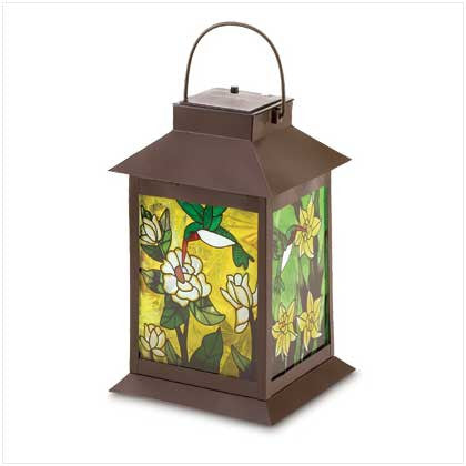 Solar Powered Garden Floral Stained Glass Lantern 10038682 Free Shipping - House Home & Office - Fits My Budget