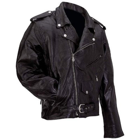 Diamond Plate GFMOT Buffalo Leather Motorcycle Jacket belted & zippered