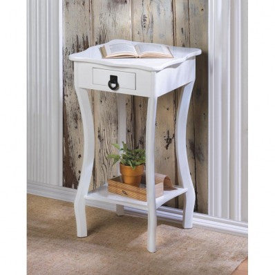 White Scallopped Accent Table 10015215 Free Shipping - House Home & Office - Fits My Budget