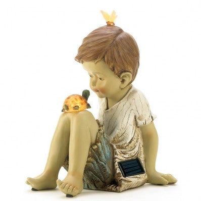 A Boy and His Pet Turtle Making Friends Solar Garden Statue 13913