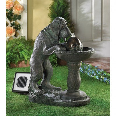 Faux-Bronze Thirsty Dog Solar Powered Water Fountain Birdbath 10014769 Free Shipping - House Home & Office - Fits My Budget