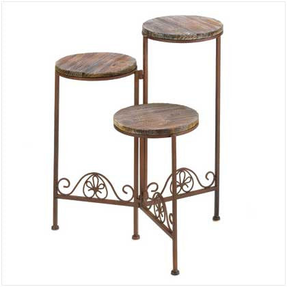 Rustic Wrought Iron and Wood Triple Planter Stand 10001091 Free Shipping