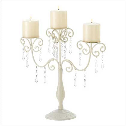 Ivory Elegance Metal and Acrylic Candelabra with Crystals 10039784 Free Shipping - House Home & Office - Fits My Budget