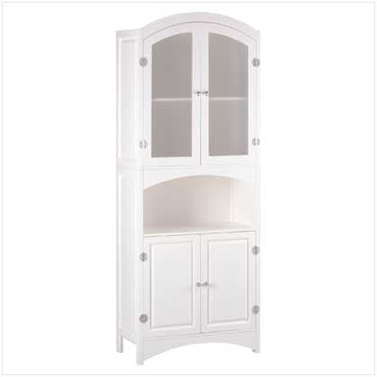 White Linen Cabinet with Silver Finished Magnetic Hardware 100335014 Free Shipping - House Home & Office - Fits My Budget