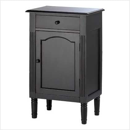 Hand Painted Antiqued Matte Black Wood Cabinet