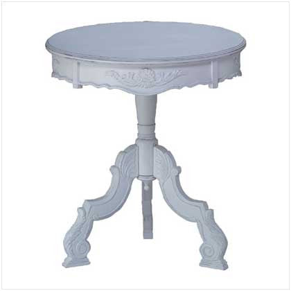 Distressed White Wood Romantic Rococo Accent Table