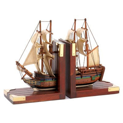 Sailing Schooner Nautical Wood Sailboat Bookends d1297 - House Home & Office - Fits My Budget